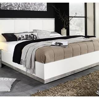 Posteľ Siegen 180x200 cm, biela/sivý betón%