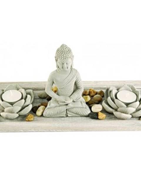 ASKO - NÁBYTOK Dekoračný set Buddha + sviečky%