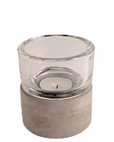 Svietnik sklo/cement, výška 9 cm%