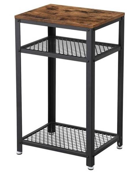 Sconto Prístavný stolík LET75BX čierna/hnedá