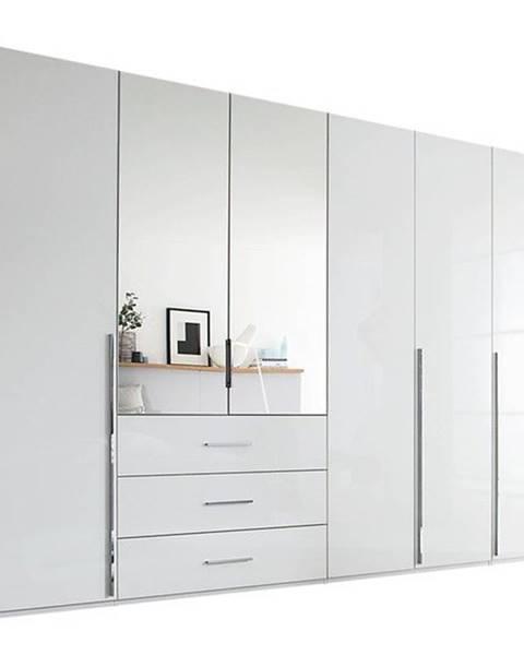 Sconto Šatníková skriňa COLIN alpská biela/vysoký lesk, 6 dverí, 2 zrkadlá