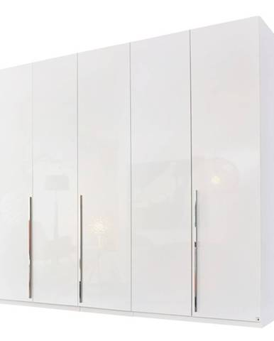 Šatníková skriňa COLIN alpská biela / vysoký lesk, 5 dverí, zrkadlo vnútri
