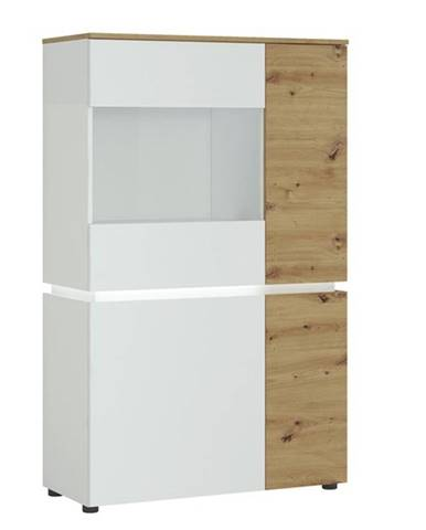 Vitrína LUCI 02 dub artisan/alpská biela
