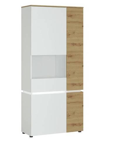Vitrína LUCI ľavá, dub artisan/alpská biela