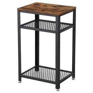 Prístavný stolík LET75BX čierna/hnedá
