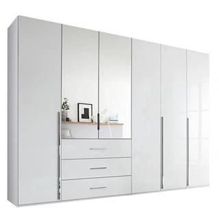Šatníková skriňa COLIN alpská biela/vysoký lesk, 6 dverí, 2 zrkadlá