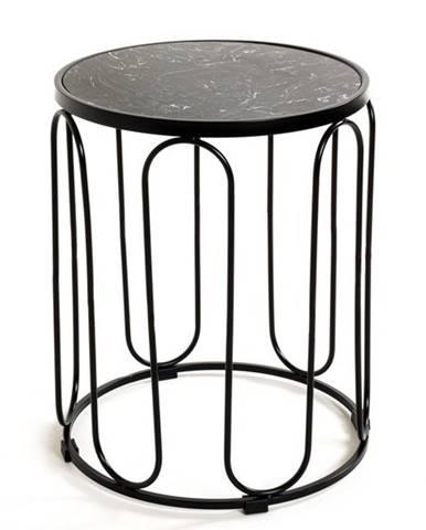 Odkladací stolík BASIL čierna/mramor