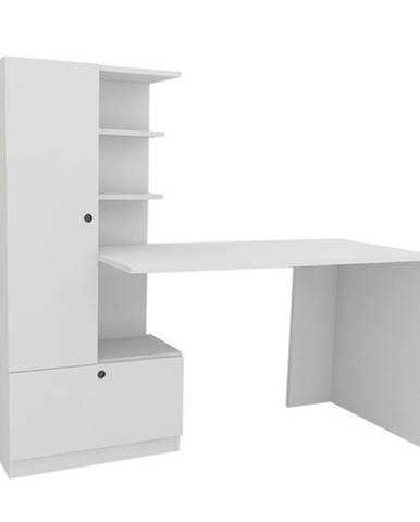 Písací stôl s regálom DOMINGOS biela