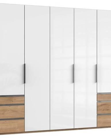 Šatníková skriňa ELIOT dub/biela, 5 dverí