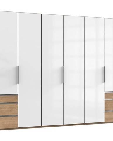 Šatníková skriňa ELIOT dub/biela, 6 dverí