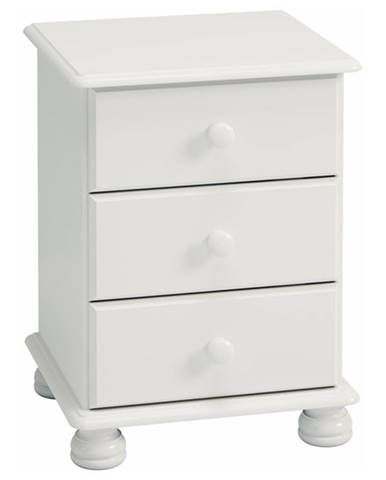 Nočný stolík ROCKWOOD biela, 3 zásuvky