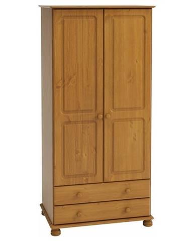 Šatníková skriňa ROCKWOOD borovica masív, 2 zásuvky, 83 cm