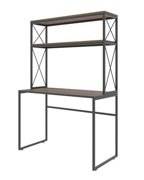 Sconto Písací stôl s regálom MERCAN borovica/čierna