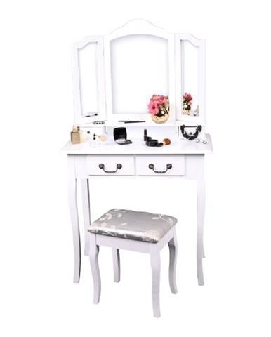 Toaletný stolík s taburetom biela/strieborná REGINA NEW