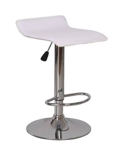 Barová stolička ekokoža biela/chróm LARIA poškodený tovar