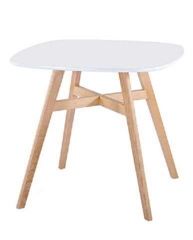 Jedálenský stôl biela/nohy drevo prírodná DEJAN NEW poškodený tovar