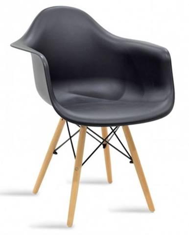 Jedálenská stolička Justy dub, čierna