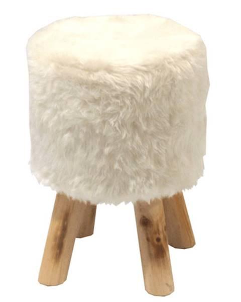 Kondela Taburet biela kožušina/borovica ALPIA