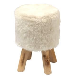 Taburet biela kožušina/borovica ALPIA