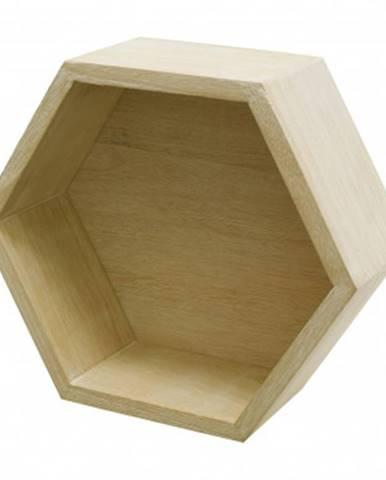 Nástenná polička Hexagon, prírodné%