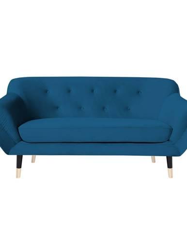 Modrá pohovka s čiernymi nohami Mazzini Sofas Amelie, 158 cm