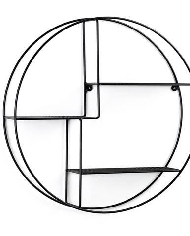 Čierna okrúhla nástenná polica La Forma, ø55cm
