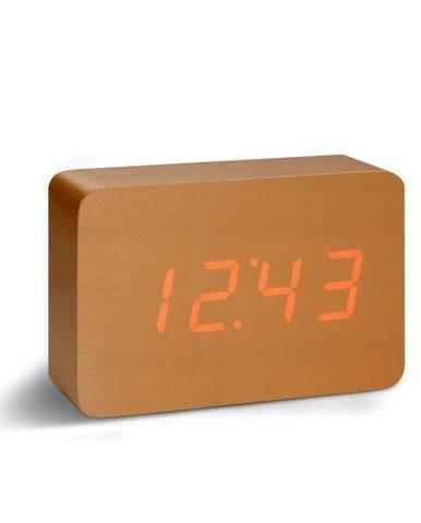 Oranžový budík s červeným LED displejom Gingko Brick Click Clock