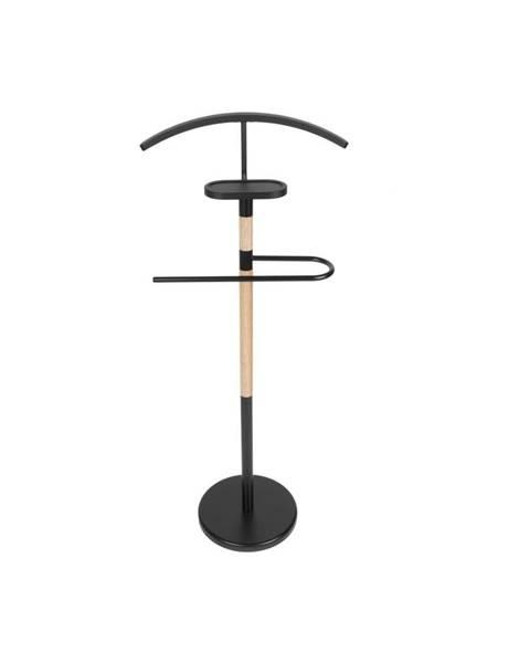 Leitmotiv Čierny nemý sluha s drevenými detailmi Leitmotiv Dress Boy