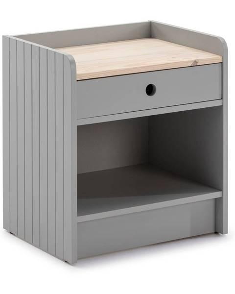 Marckeric Svetlosivý nočný stolík s doskou z borovicového dreva Marckeric Monte