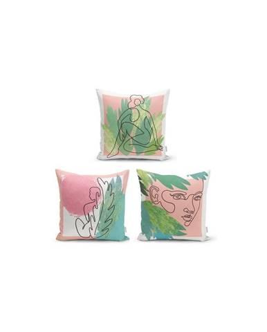 Súprava 3 dekoratívnych obliečok na vankúše Minimalist Cushion Covers Colourful Minimalist, 45 x 45 cm