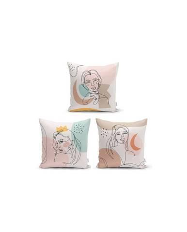 Súprava 3 dekoratívnych obliečok na vankúše Minimalist Cushion Covers Minimalist Line, 45 x 45 cm