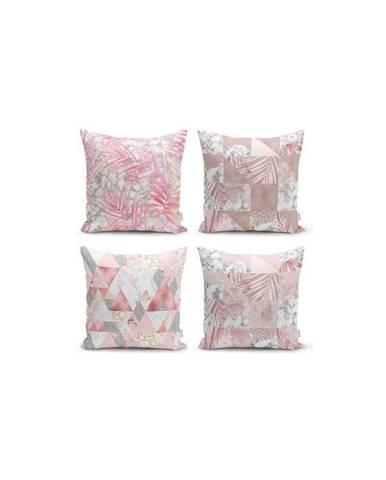 Súprava 4 dekoratívnych obliečok na vankúše Minimalist Cushion Covers Pink Leaves, 45 x 45 cm