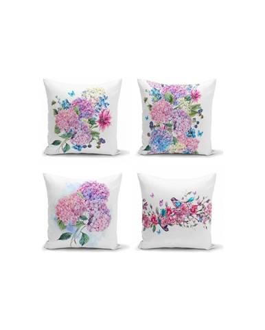 Súprava 4 dekoratívnych obliečok na vankúše Minimalist Cushion Covers Purple Pink, 45 x 45 cm