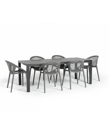 Sivá záhradná súprava nábytku so 6 stoličkami Le Bonom Joanna Thor