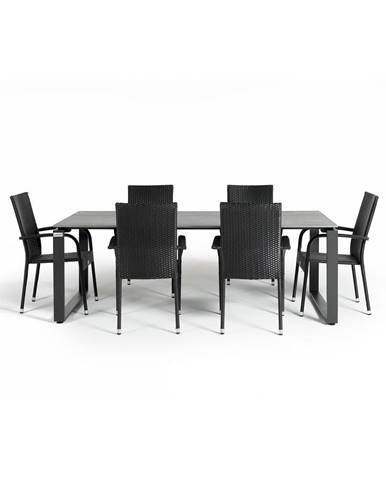 Sivá záhradná súprava nábytku so 6 stoličkami Le Bonom Paris Strong