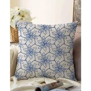 Modrá obliečka na vankúš s prímesou bavlny Minimalist Cushion Covers Chic, 55 x 55 cm