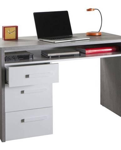 Písací stôl BELLE betón/biela vysoký lesk
