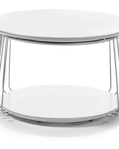 Prístavný stolík VENUTO biela, 70 cm