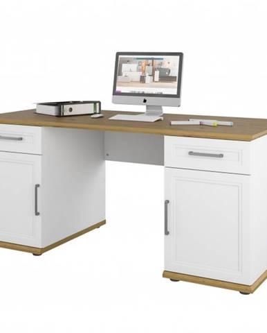 Písací stôl VIVIENNE dub/biela matná