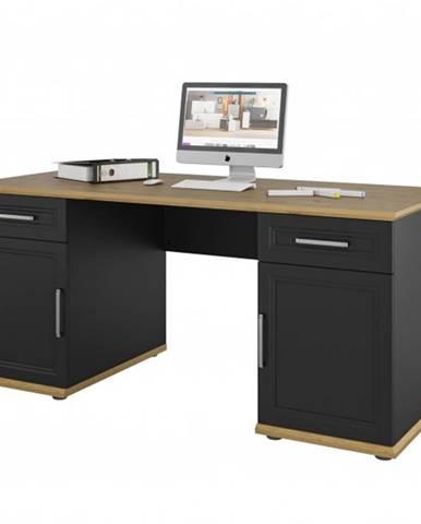 Písací stôl VIVIENNE dub/čierna matná