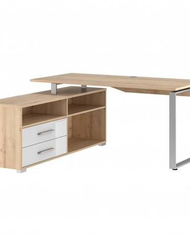 Rohový písací stôl SPOKE buk/biela