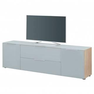 TV komoda TERRY V dub sonoma/sivé sklo, horná doska tvrdené sklo