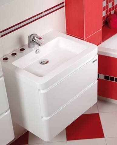 Kúpeľňová skrinka s umývadlom Praya závesná 64x53x48, biela,lesk