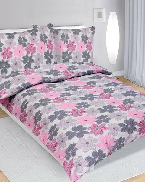 Bellatex Bellatex Krepové obliečky Kvety ružová, 140 x 200 cm, 70 x 90 cm
