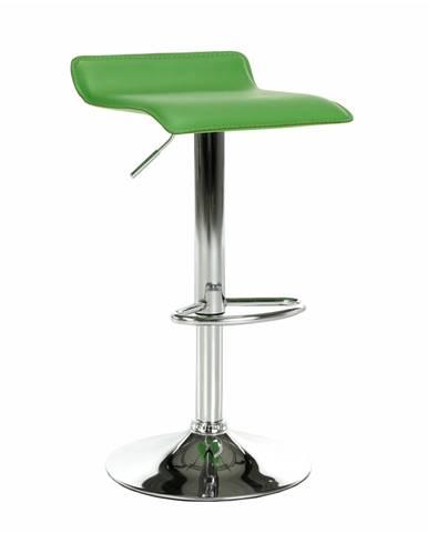 Barová stolička ekokoža zelená/chróm LARIA NEW