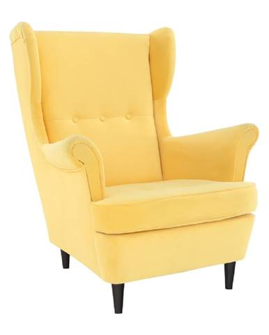 Kreslo ušiak žltá/wenge RUFINO