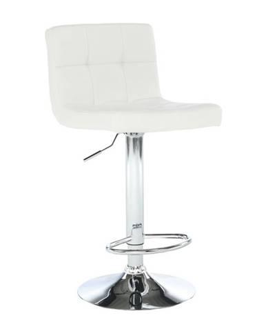 Barová stolička biela ekokoža/chróm KANDY NEW rozbalený tovar
