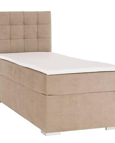 Boxspringová posteľ jednolôžko svetlohnedá 80x200 ľavá DANY rozbalený tovar