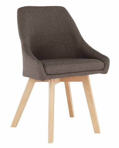Jedálenská stolička hnedá látka/buk TEZA rozbalený tovar