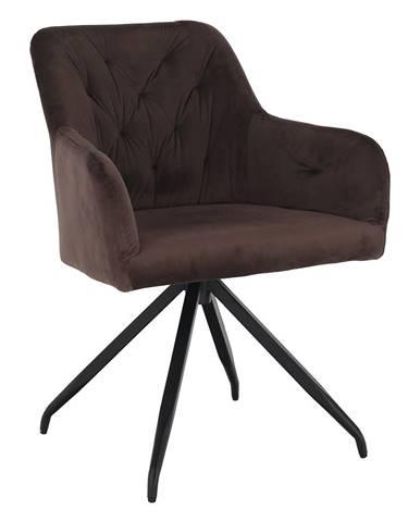 Otočná stolička hnedá Velvet látka/čierna VELEZA rozbalený tovar